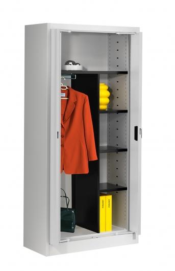 Stahlblech-Einschwenktürenschrank,950 mm breit,Kleiderstange, Hutablage und 3 Böden