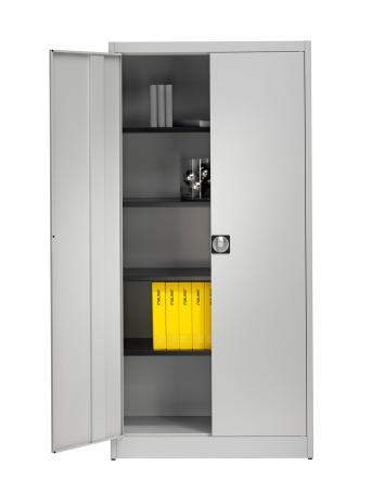 Stahlblech-Flügeltürenschrank,950 mm breit,4 Fachböden