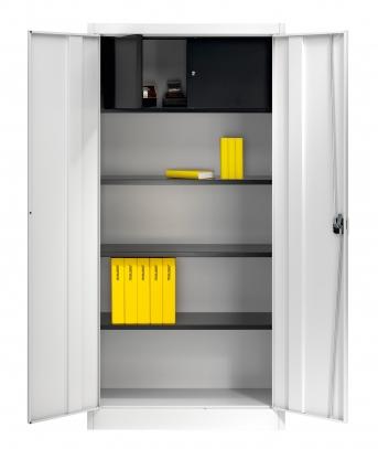 Stahlblech-Flügeltürenschrank,950 mm breit,1 Schließfach + 3 Böden