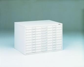 Stahlblech Zeichnungsschrank DIN A1 - 10 Auszüge je 65 mm hoch