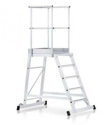 Podestleiter, verfahrbar, einseitig begehbar mit 80mm tiefen Stufen