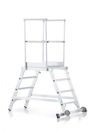 Podestleiter, verfahrbar, beidseitig begehbar mit 80mm tiefen Stufen