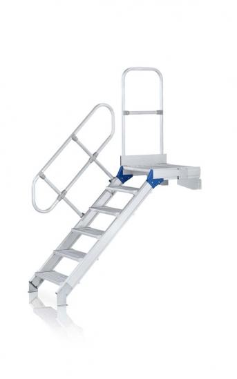 Leichtmetall-Treppe m Geländer u. Plattform, 600mm