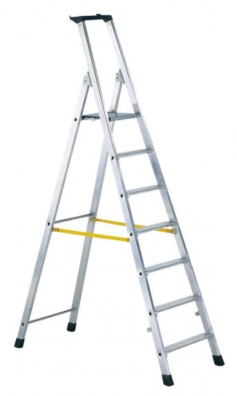 Stufen-Stehleiter mit Brücke einseitig begehbar, gebördelt
