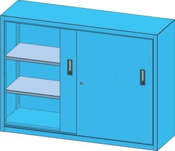 Schiebetür-Materialschrank 1350 mm breit, 1000 mm hoch, Vollblech