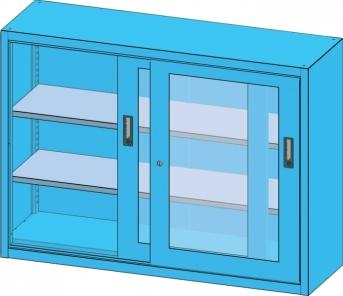 Schiebetür-Materialschrank 1350 mm breit, 1000 mm hoch, Sichtfenster