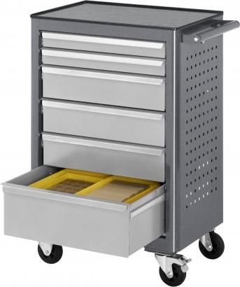 Rollwerkbank 675x450 mm, Schubladen 2x65, 3x130 und 1x180 mm, mit Metall-Top