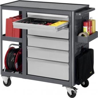 Rollwerkbank 960x450 mm, Schubladen 2x65,3x130 u.1x180 mm,2 Ablagefächer,Metall-Top