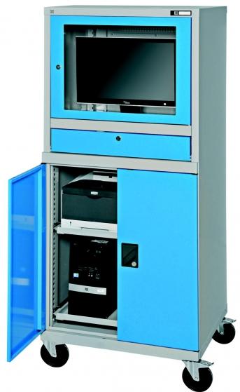 PC Universalschrank, fahrbar, mit tiefem Monitorgehäuse