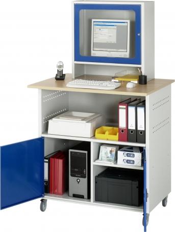 PC-Schrank fahrbar, Arbeitsplatte Buche