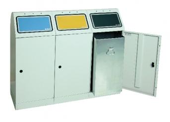 Sortsystem Flex-M, 3-fach Station mit verzinktem Innenbehälter