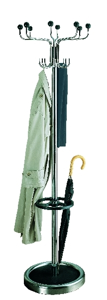 Rund-Garderobenständer mit drehbarer Hakenkrone Chrom