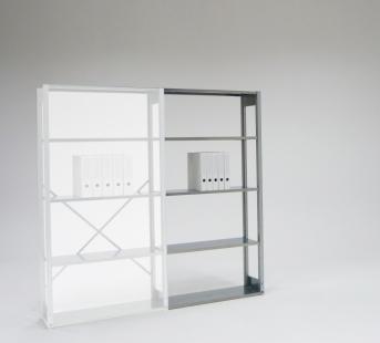 Einfachregal für 4 Ordnerhöhen als Anbauregal 909 mm breit
