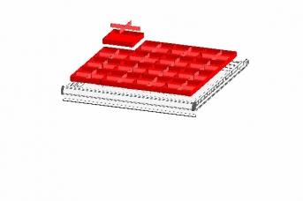 Schubladeneinteilung aus 16 Kleinteilekästen, 16 Längsteiler, 32 Querteiler, FH 75 mm