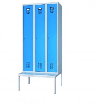 Stahlblech-Garderobenschrank mit 3 Abteilen