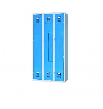 Raumspar-Garderobenschrank Z-Form mit 6 Abteilen