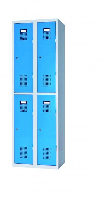 Raumspar-Doppelgarderobenschrank mit 4 Abteilen