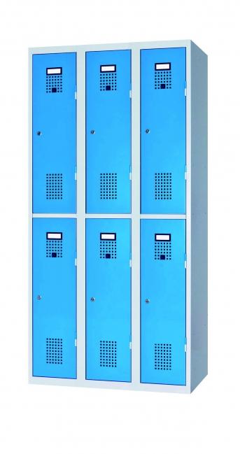 Raumspar-Doppelgarderobenschrank mit 6 Abteilen