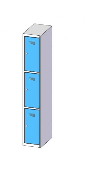 Fächerschrank / Schließfachschrank mit 3 Türen
