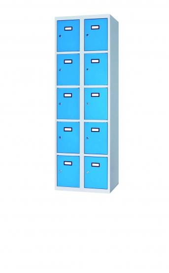 Fächerschrank / Schließfachschrank mit 10 Türen