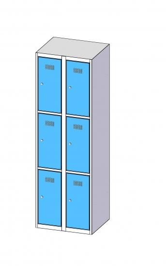 Fächerschrank / Schließfachschrank mit 2 x 3 Türen