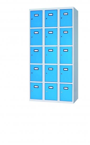 Fächerschrank / Schließfachschrank mit 15 Türen