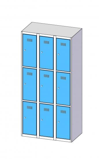 Fächerschrank / Schließfachschrank mit 3 x 3 Türen