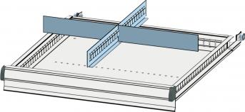 Trennwandset 4 Fächer 75  mm Schublade