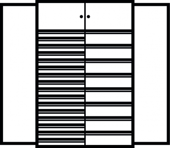 Kombi-Flügeltürenschrank 1950x1200x500 mm mit 24 Schubladen, 2  Schließfächern