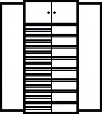 Kombi-Flügeltürenschrank 1950x950x500 mm mit 24 Schubladen, 2  Schließfächern