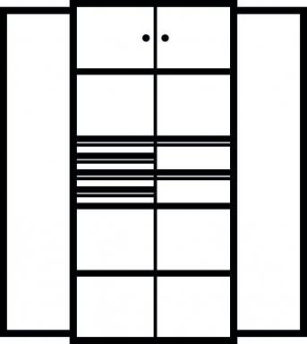 Kombi-Flügeltürenschrank 1950x950x500 mm mit 2 Böden, 6 Schubladen, 2 Schließfachern