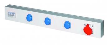 Energieleiste Modul 1000, 3 Steckdosen 230 V, 1 x 400 V, mit Schutzschalter